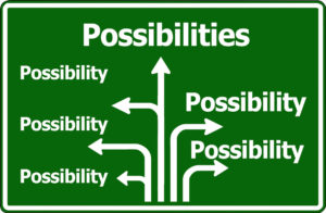 "sign with arrows and ""possibilities"""