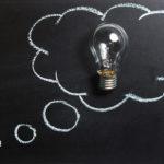 light bulb with idea balloon
